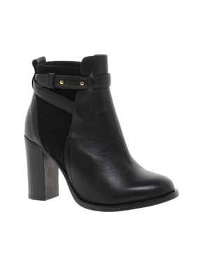 Image 1 of Whistles Canter Black Block Heel Leather Ankle Boots ...