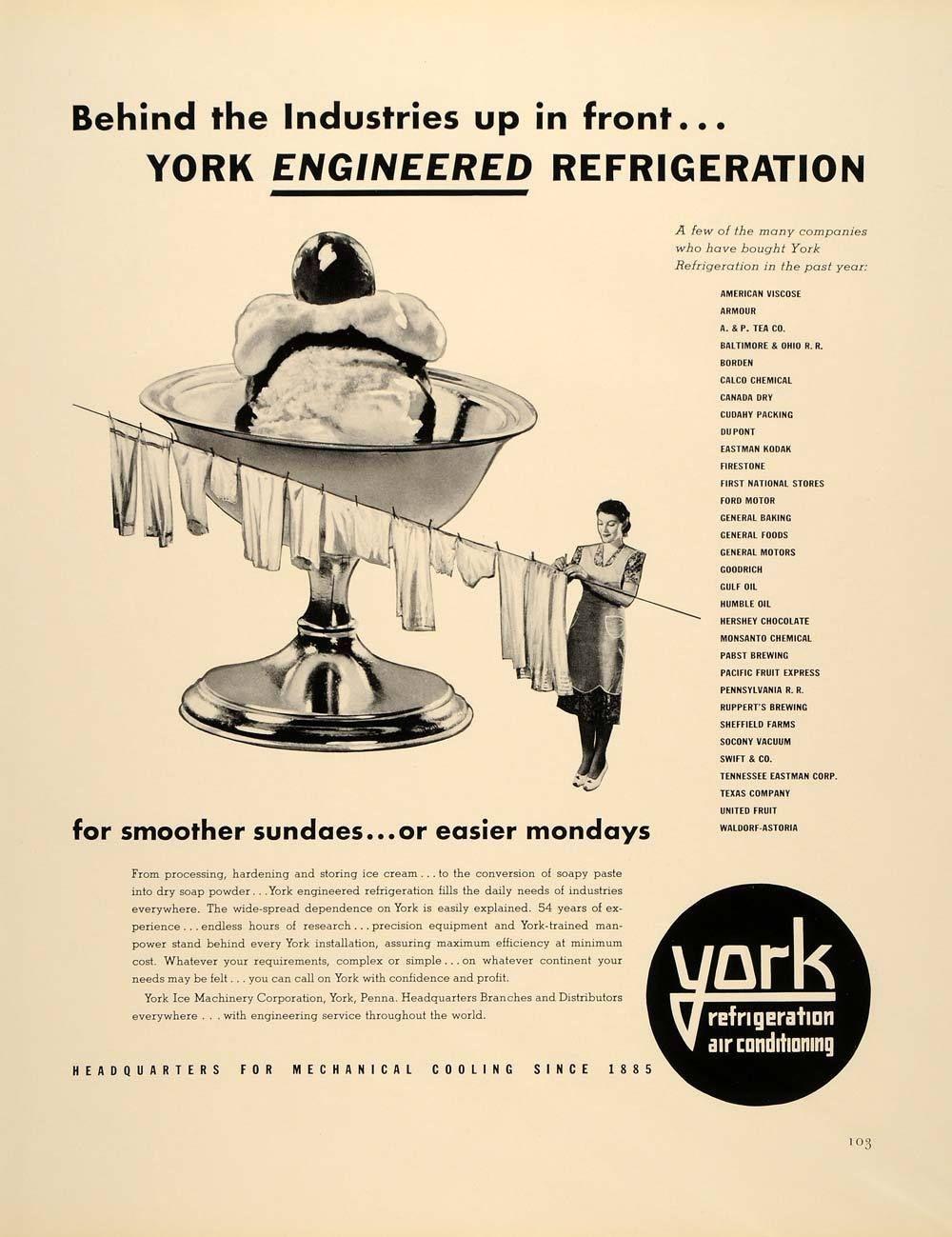 1939 Ad York Refrigeration Air Conditioning Ice Sundae