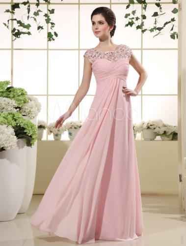 Vestido doce rosa laço do Chiffon jóia pescoço feminino - Milanoo.com