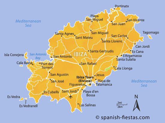 Map Of Isla Ibiza Spanje Ibiza Mooie Plaatsen