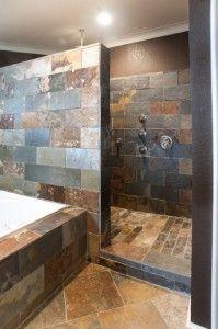 Stone Walk In Shower No Glass To Clean Master Bathroom Shower