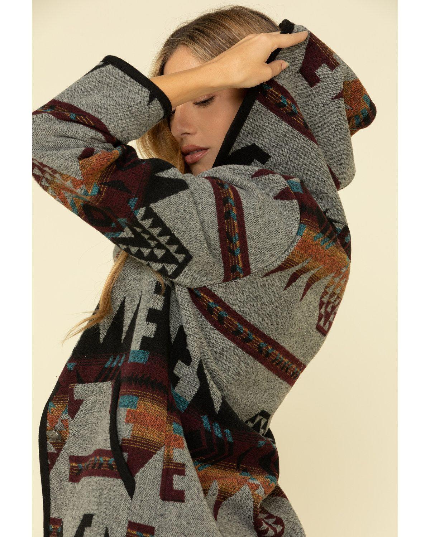 Cripple Creek Women's Grey Navajo Blanket Hood But