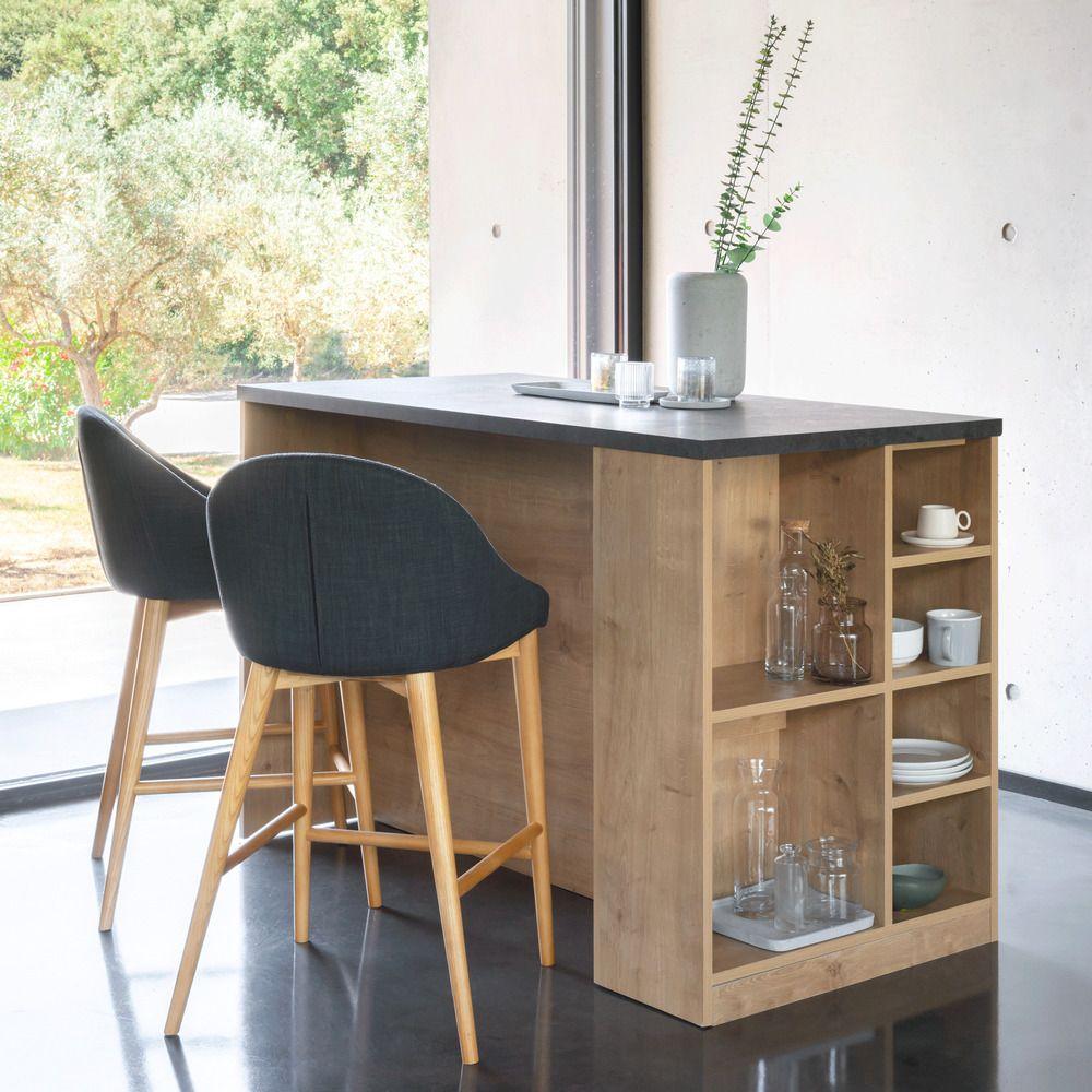 Bar Ilot Central Rangement Reversible Plateau Gris Aux Reflets Marron L140cm Gabin 140x69 Cm Bar Et Ilot Central Meuble Bar Cuisine Ilot Central Bar Interieur