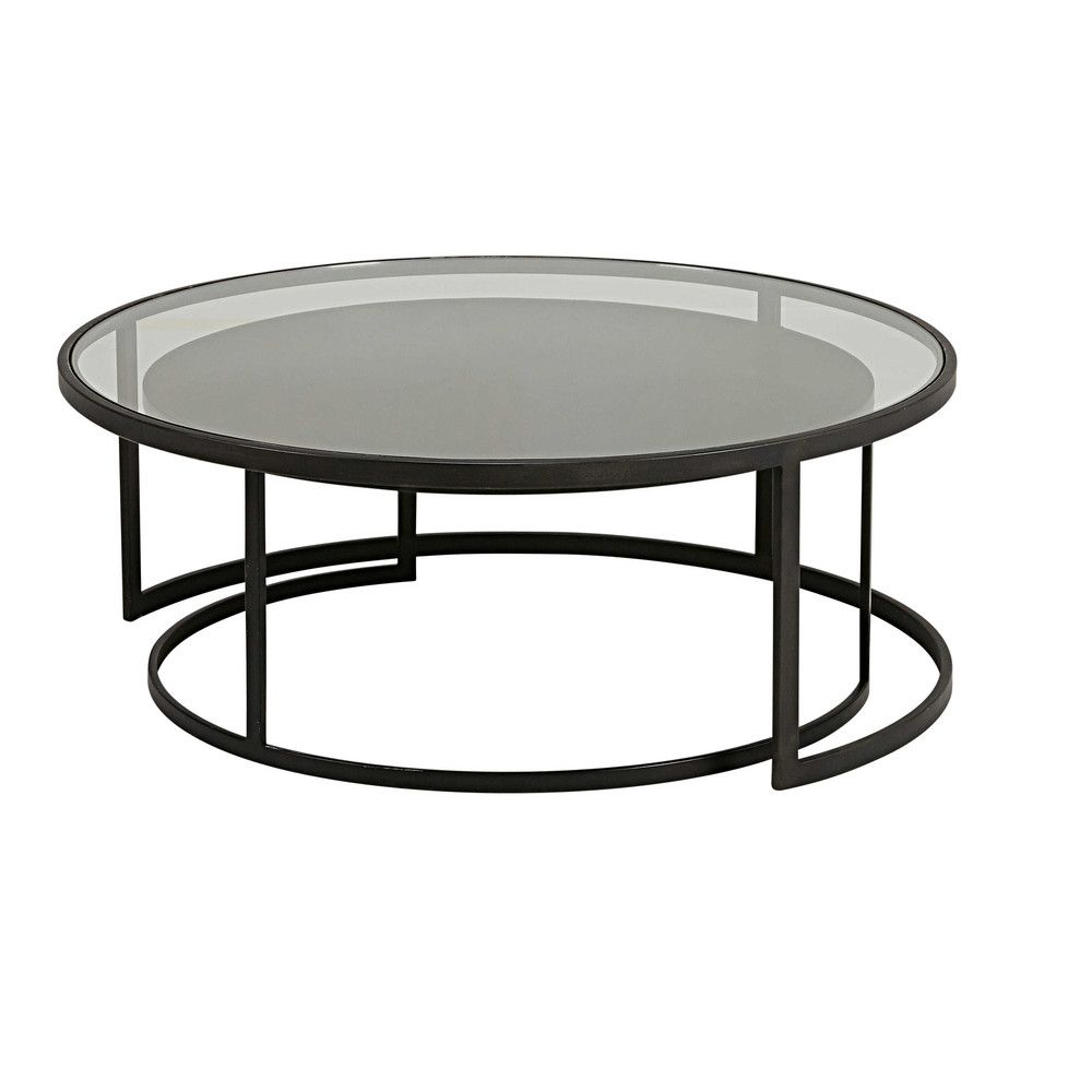 2 Tables Basses Gigognes En Verre Trempe Et Metal Noir Tables