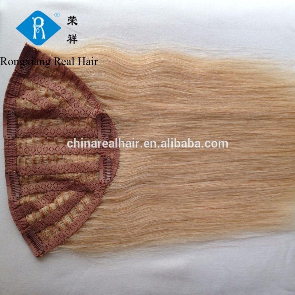 Double Drawn Straight Human Blonde Hair Half Wig Clip In Hair