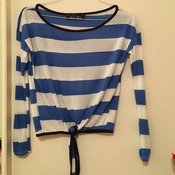 Blue and White Striped Top Only worn once, in perfect condition! Sleeves have buttons and can be rolled up. Francesca's Collections Tops