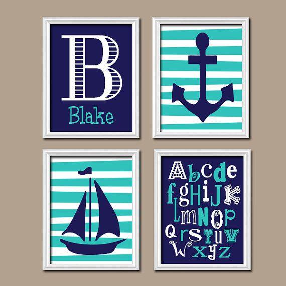 Nautical Boy Wall Art Nursery Canvas Artwork Child Navy Blue Turquoise Monogram Sailboat Sea Anchor Ocean Alphabet ABC Set of 4 Prints Baby