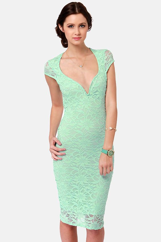 Lace your bets mint green lace midi dress