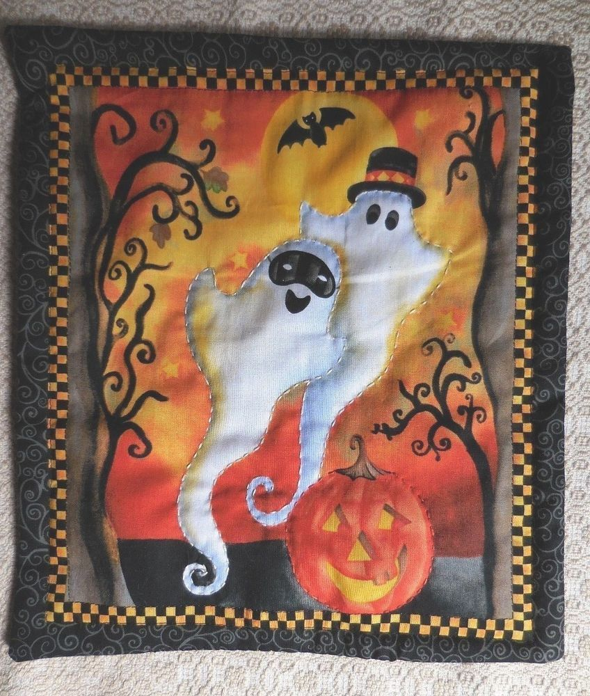 Primitive Halloween GHOSTS Bat JOL Table Mat Wall Hanging Spooky - Primitive Halloween Decor