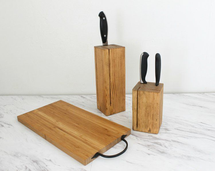 Kitchen Knife Blocks And Bamboo Cutting Board. Handcrafted By  ArrayandDisplay.com. Made In