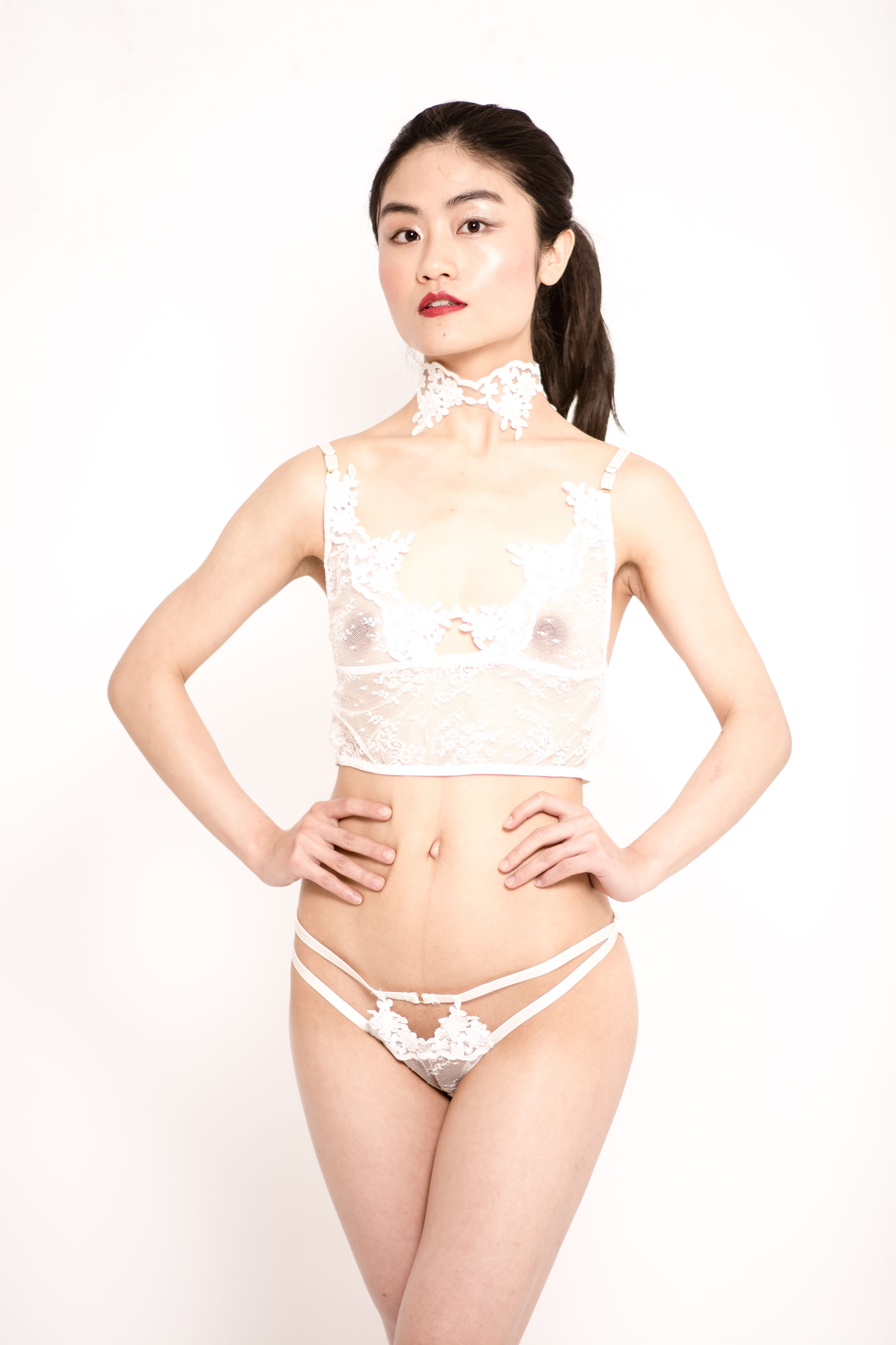 90a0e80732d85 Sofia sheer white lace Made in Paris and ivory embroidery lace lingerie  set. For the sexiest bridal look. Ivory embroidery lace choker as detail.  ...