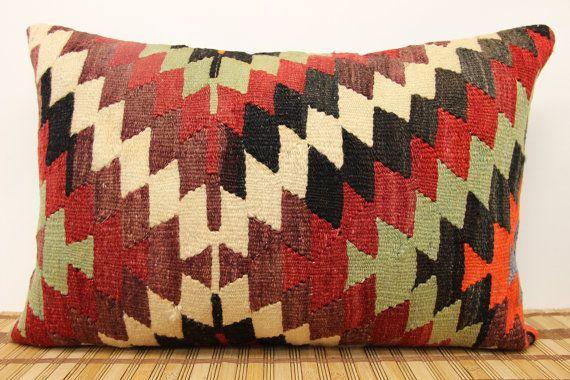 Vintage Lumbar kilim pillow 16 x 24 Throw kilim Pillow  accent Pillow Decorative Handwoven Turkish Kilim yellow red green Black colour  F-26...