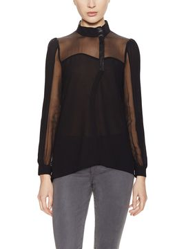 Chartres Leather Trim Button Up Top from Stella