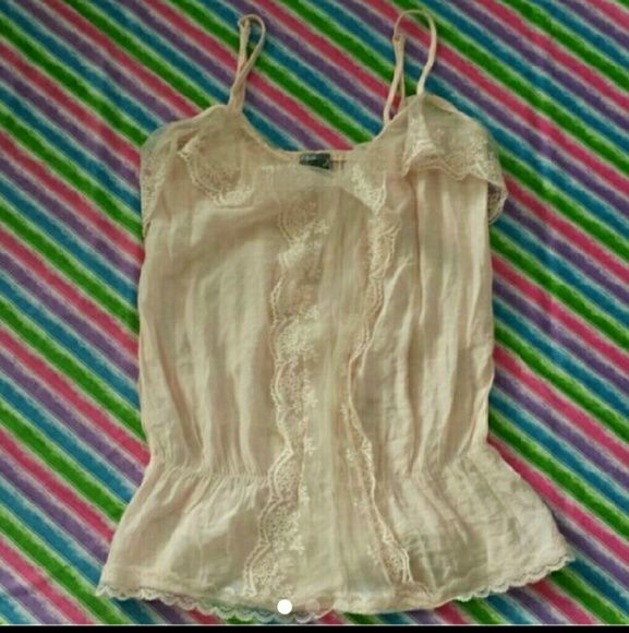 Romance in the Making Tank Cream colored soft Cami with adjustable straps. Gorgeous lace details. In very good condition. Feminine and romantic, but pairs well with denim too. Poetry Tops Camisoles