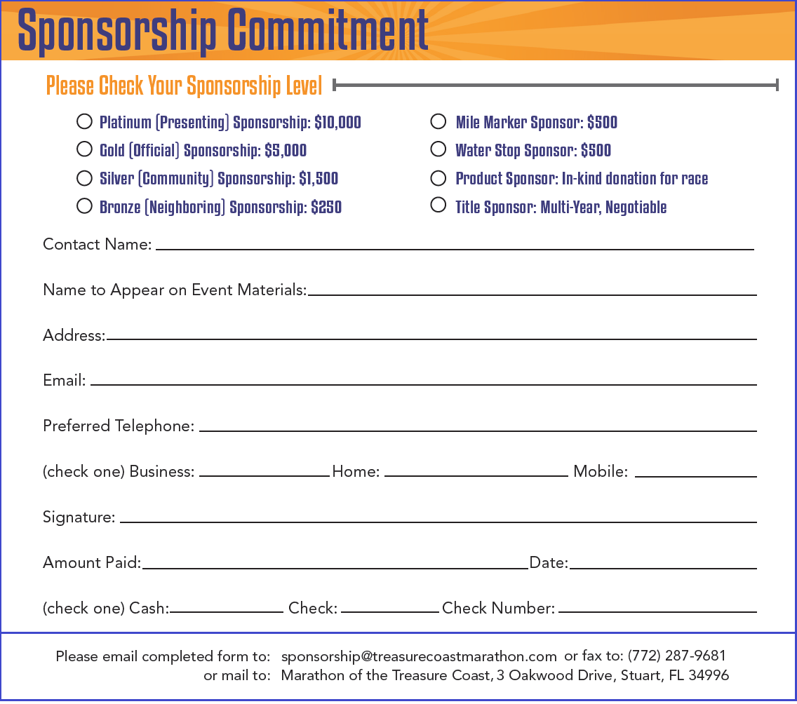 Sponsorship Opportunities The Marathon Treasure Coast Stylish Donation Pledge Card Template Dai Dayanayfreddy Proposal Templates Sponsorship Lettering