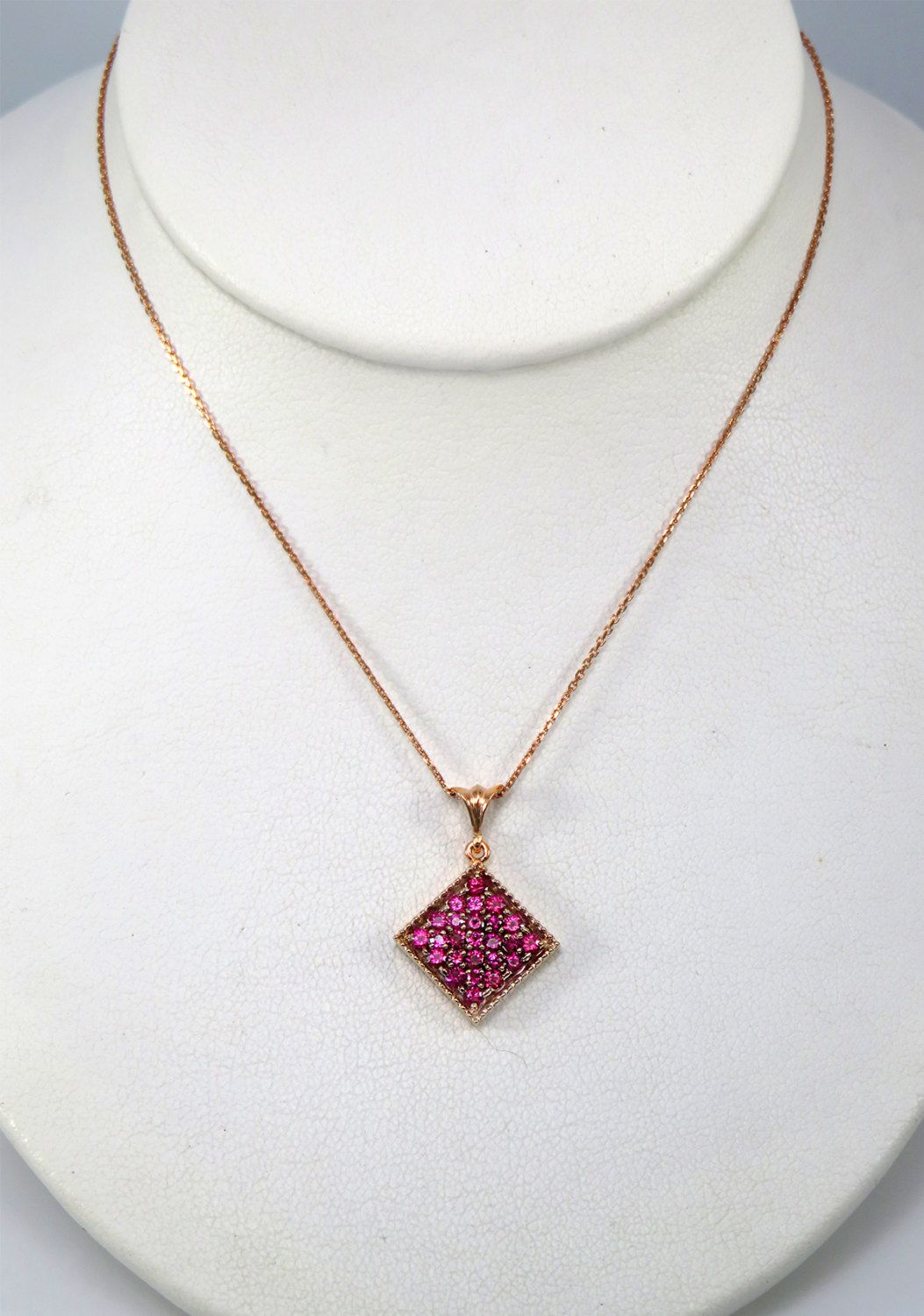 K rose gold and pave ruby pendant by gretzdesigns on etsy