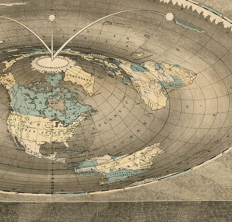 Square Earth Map.World Map Of Square Stationary Flat Earth 1893 Antique Reprint