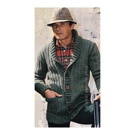 Mens Knit Cardigan Pattern Sweater Jacket by DigitalPatternShop ...