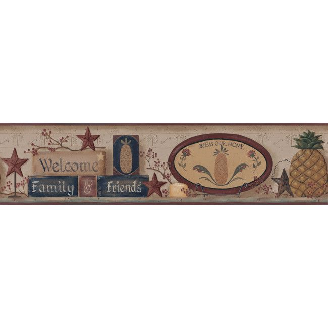 York Wallpaper YC3394BD Welcome Home Welcome Pineapple Border