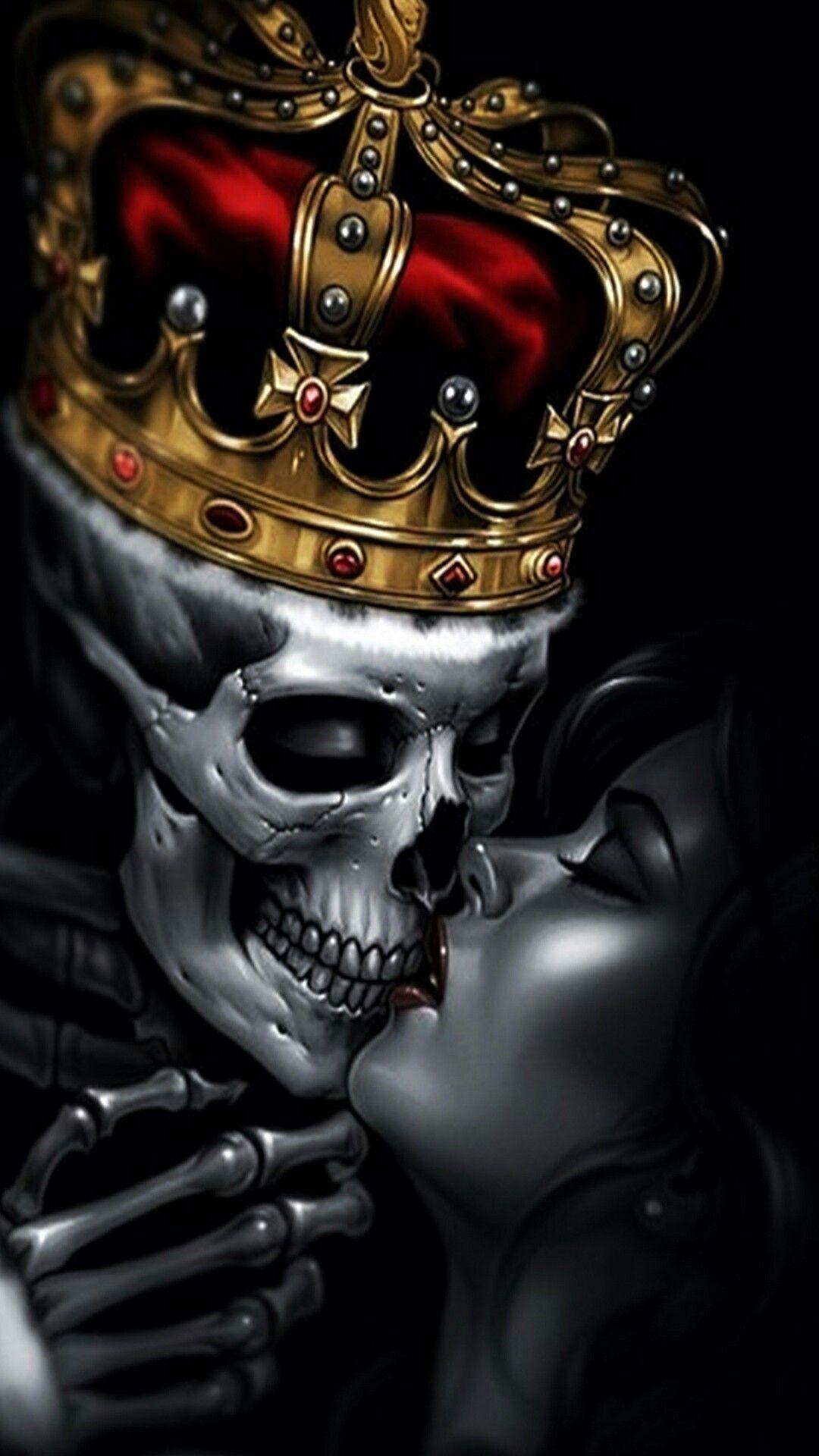 King skull kissing the queen king skull tattoo popular for King and queen skull tattoos