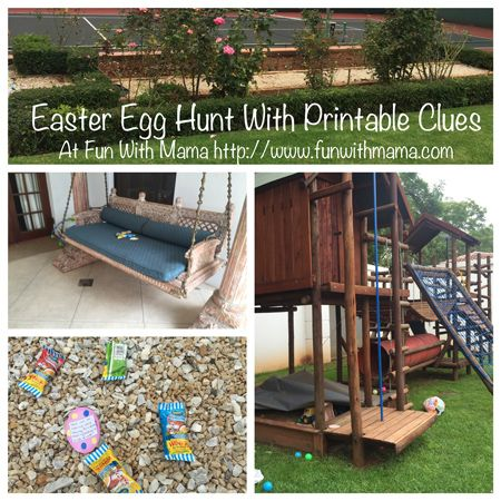 Come Join Us On An Easter Egg Hunt- Printable Clues with blank pages leads to so many ideas on Fun With Mama as we watch them go on an Easter Egg Hunt. Full of ideas for hiding places and clues!