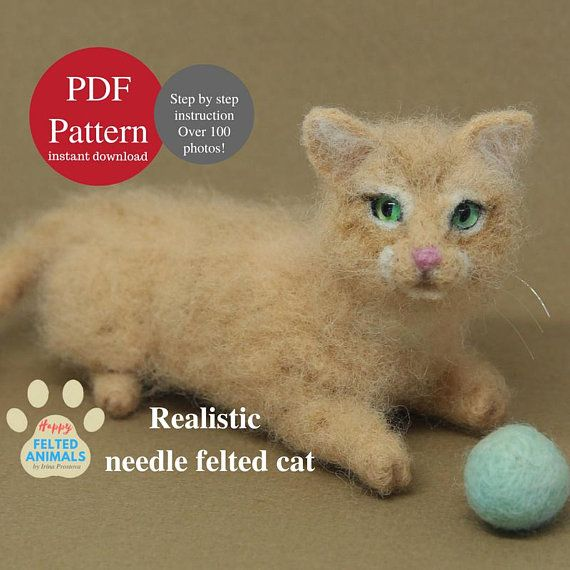 Needle Felting Tutorial Needle Felted Cat Pattern Needle felted Animals Realistic Cat Felt Toy Soft Pet Sculpture Needle Felting Book Kitten #needlefeltedcat