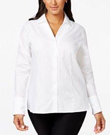 a38c479fb2a Calvin Klein Plus Size No-Iron Button-Down Shirt