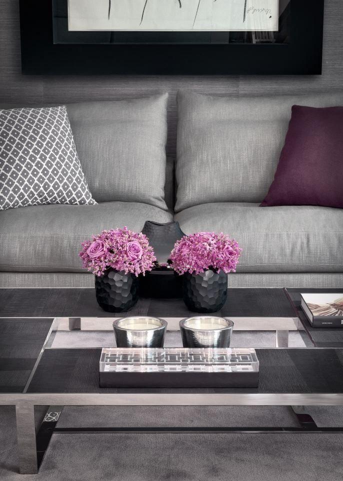 grey pink living room