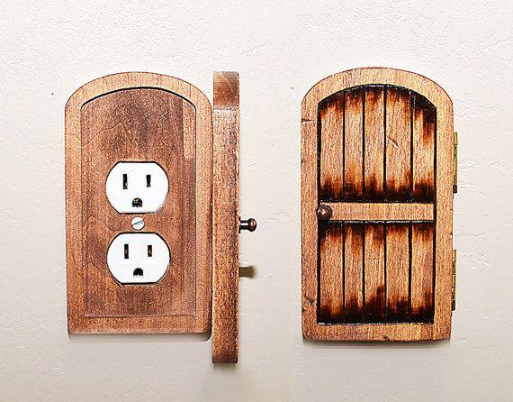 Handmade Wooden Rustic Fairy Door Switchplate/Outlet Cover - Unique Novelty Home Decor Secret & Handmade Wooden Rustic Fairy Door Switchplate/Outlet Cover - Unique ...