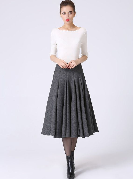Wool skirt, womens skirts, ruffle skirt, pleated skirt, gray skirt ...