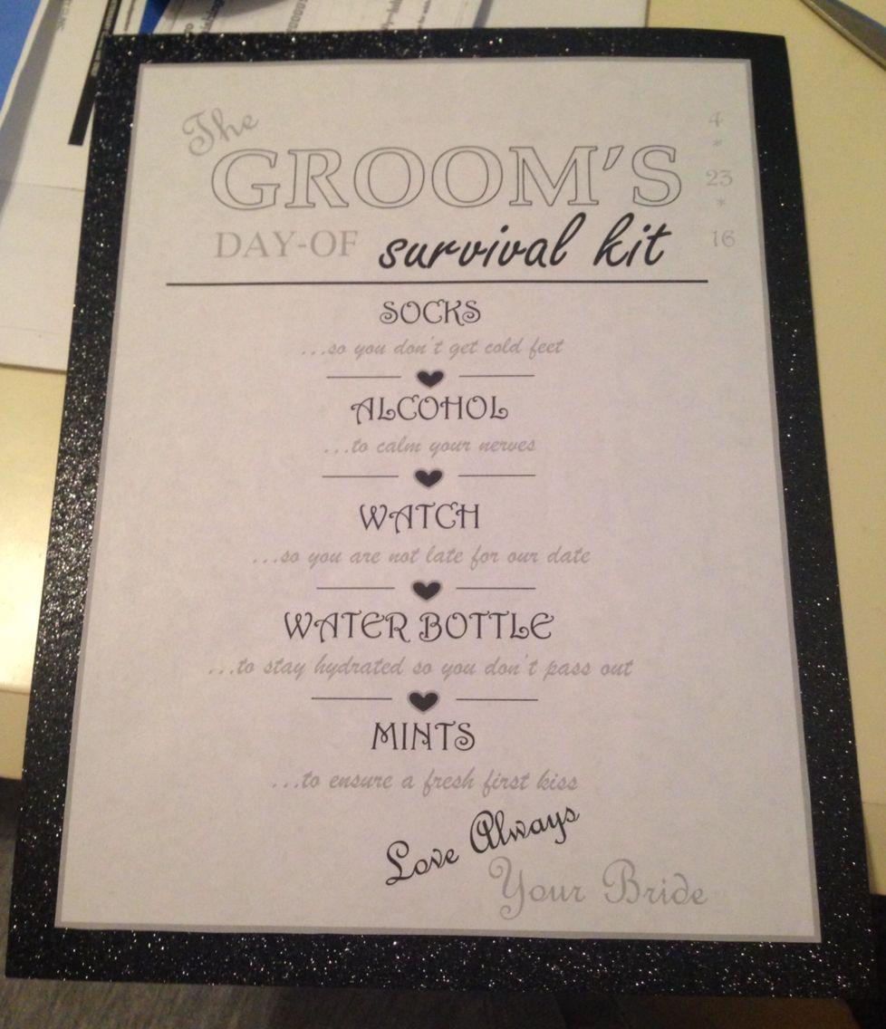 Groom's Survival Kit Checklist
