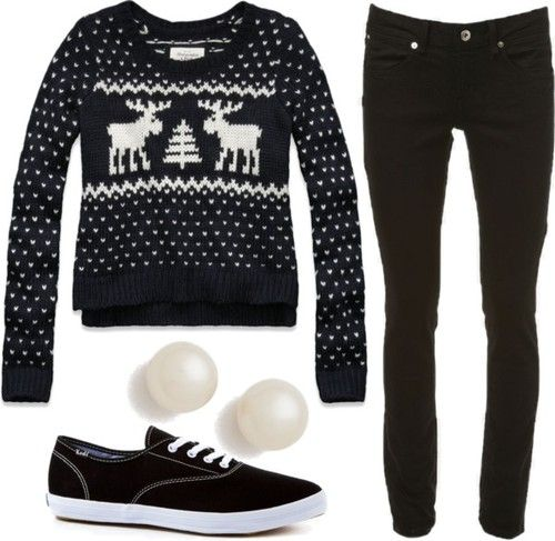 Cute outfit   Abercrombie & Fitch knit top / Topshop skinny leg jeans / Keds ®, $56 / Kenneth Jay Lane pearl jewelry