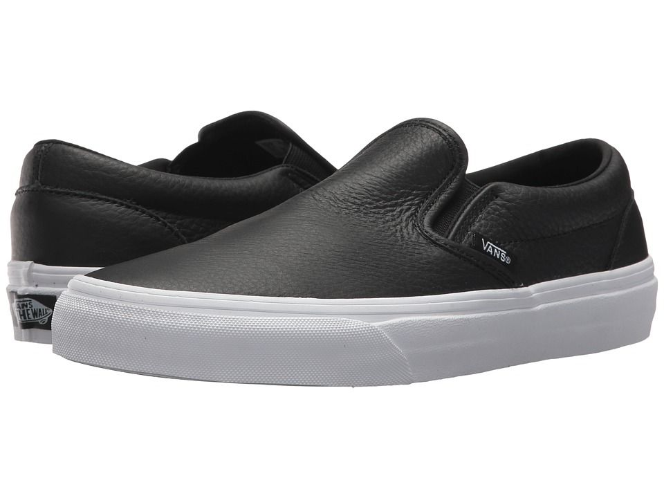 Vans Classic Slip On DX Skate Shoes (Tumble Leather) Black
