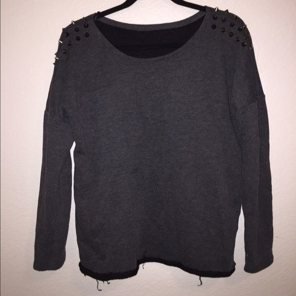 Shoulder studded black sweater Super cute shoulder studded black sweater. Has been very lightly worn and is super cute. I originally bought this in Europe! Bik bok Sweaters Crew & Scoop Necks