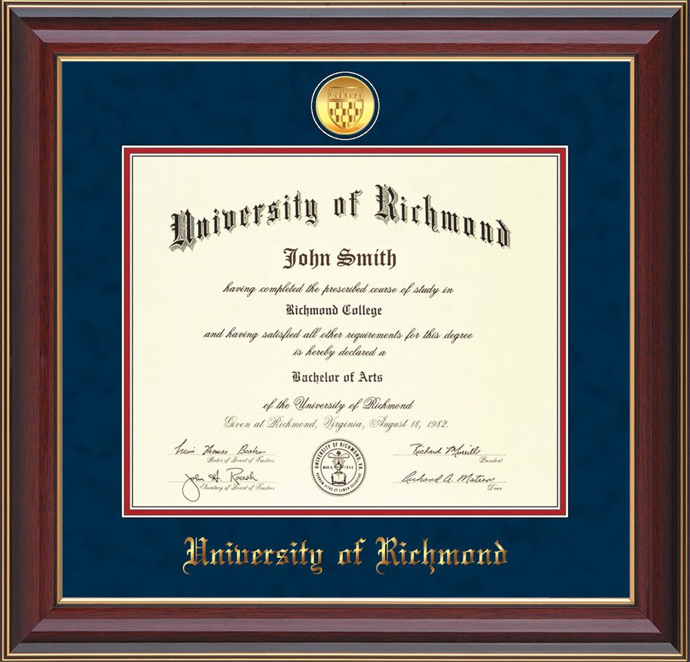 University Of Richmond Diploma Frame Cherry Lacquer W 24k Gold Plated Medallion Ur Name Embossing Navy Suede On Red Mats University Of Richmond Diploma Frame Unique Graduation Gifts