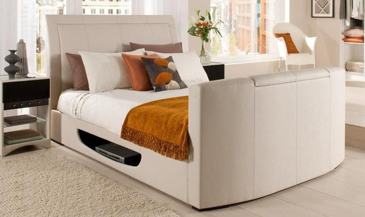 Newton Real Leather Tv Bed Available In Double Kingsize And Super