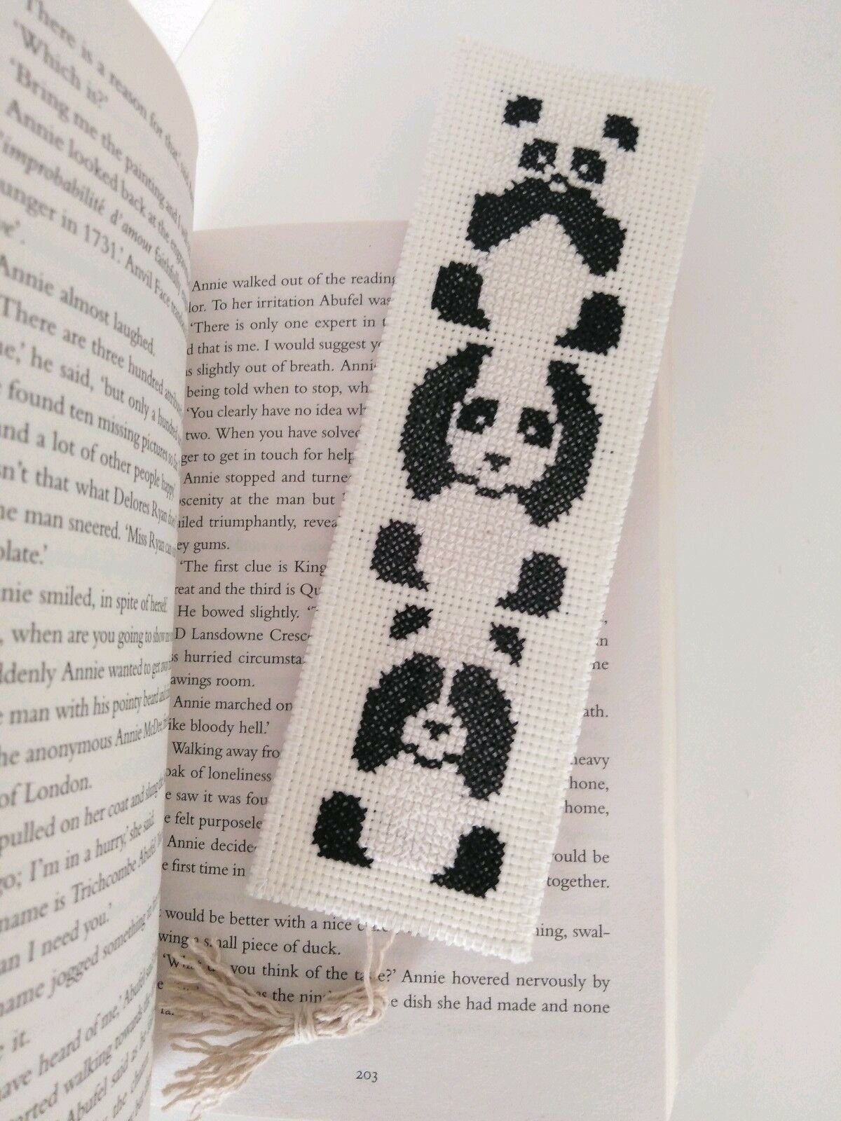 Completed Cross Stitch Bookmark  Panda