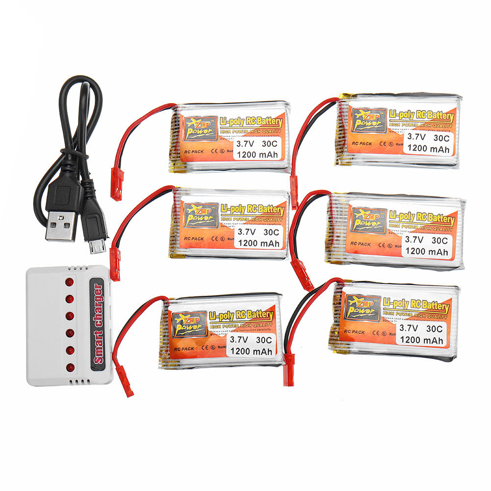6PCS ZOP POWER 3.7V 1200mAh 30C 1S Lipo Battery JST Plug