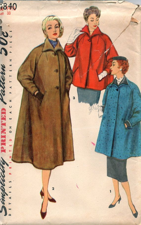 Simplicity 4840 1950s Misses Half Size Easy Fitting COAT Pattern 3 ...