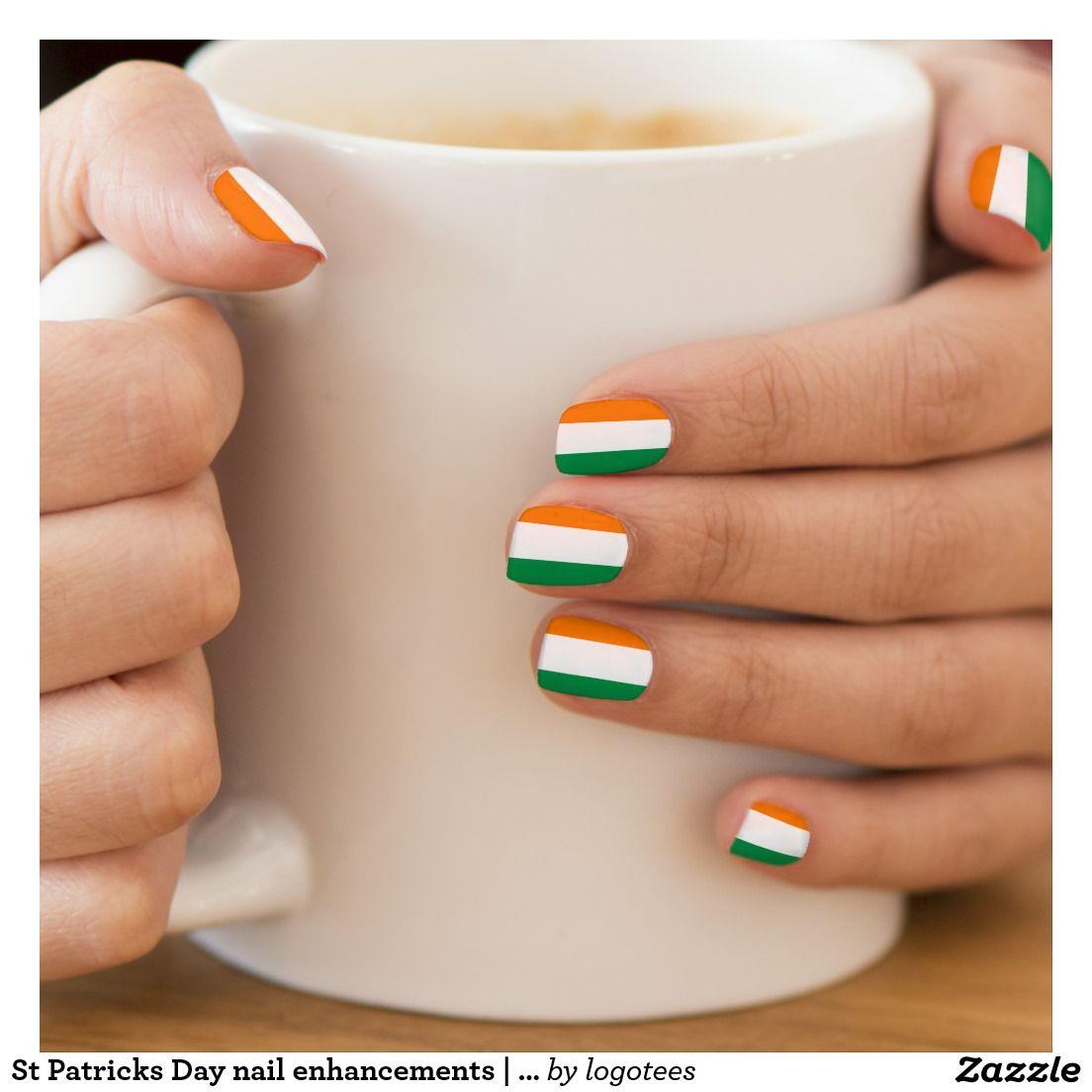 St Patricks Day nail enhancements | Irish flag Minx Nail Wraps ...