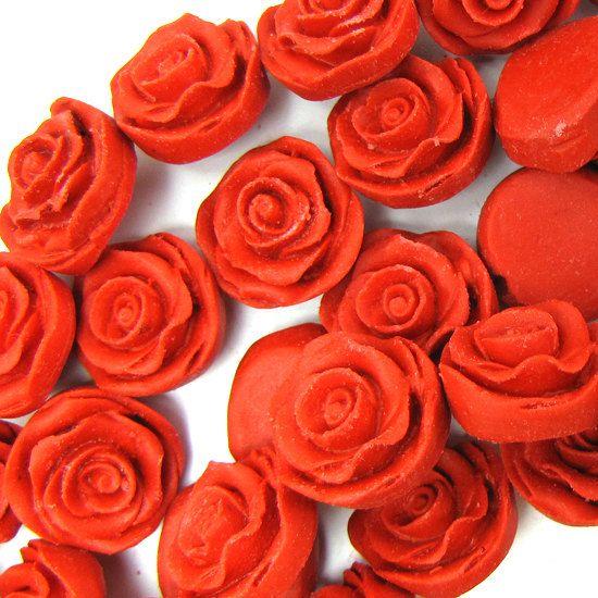 8x18mm red cinnabar carved rose flower beads 6pcs by EagleBeadz