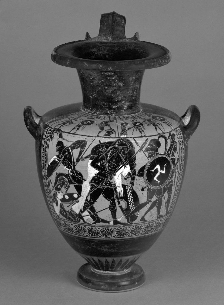 Pottery: black-figured hydria (water-jar): The Death of Penthesilea. Achilles carries her body carefully off the field of battle.