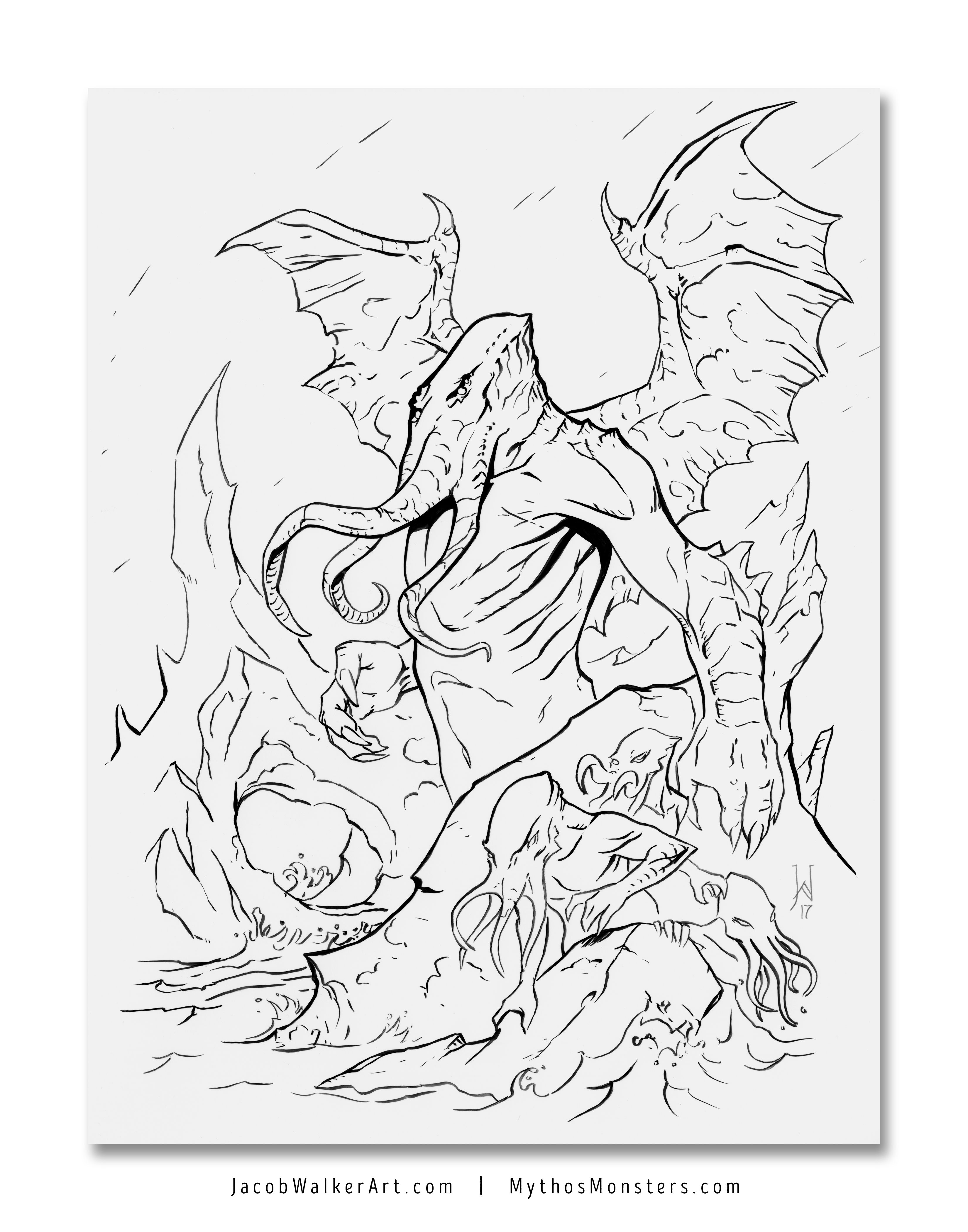 Cthulhu Coloring Page Color Of Lovecraft Bundle