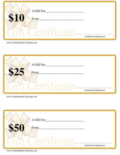 This Set Of Three Printable Gift Certificates Are Ideal For Retail