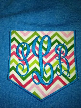 Shortsleeve monogram pocket or frocket  in turquoise by gigibabies, $23.00