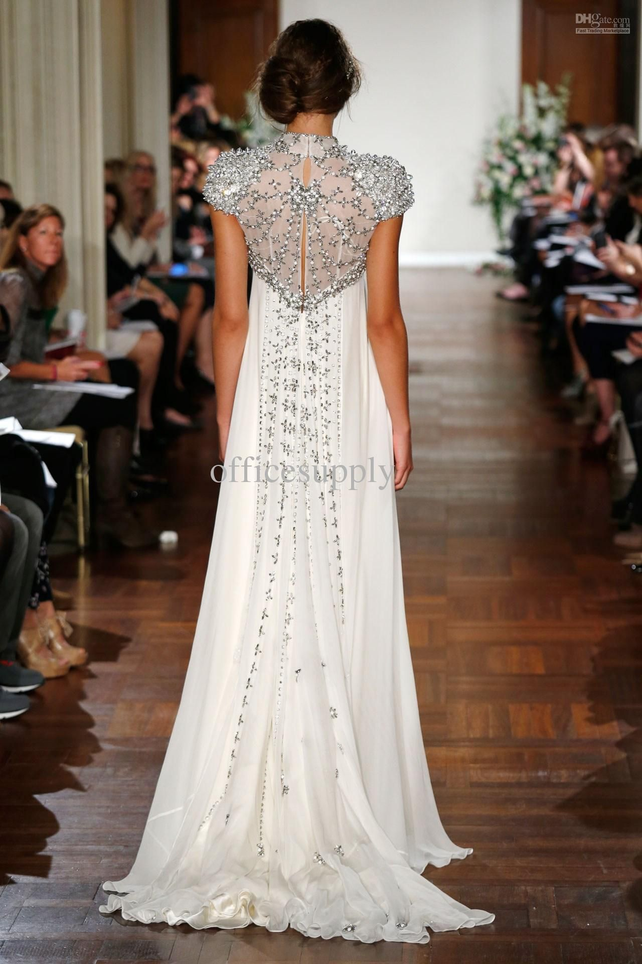 Ivory Bead Crystals Jenny Packham Beach Wedding Dress with Short ...