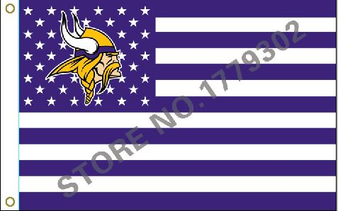 Minnesota Vikings Wordmark Flag 3ft x 5ft Polyester NFL Minnesota Vikings Banner Flying  Custom flag free shipping