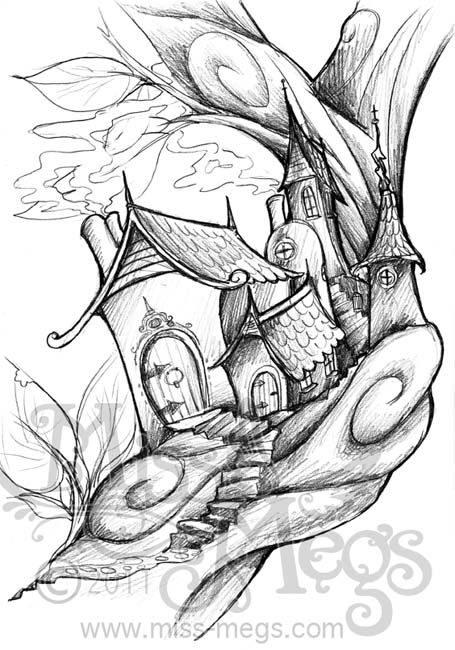 fairy tree house coloring pages - Google Search | Coloring ...