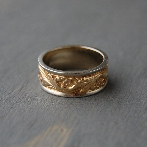 Vintage 14k Two Tone Gold Decorative Wedding Band By Keepsake Mintandmade