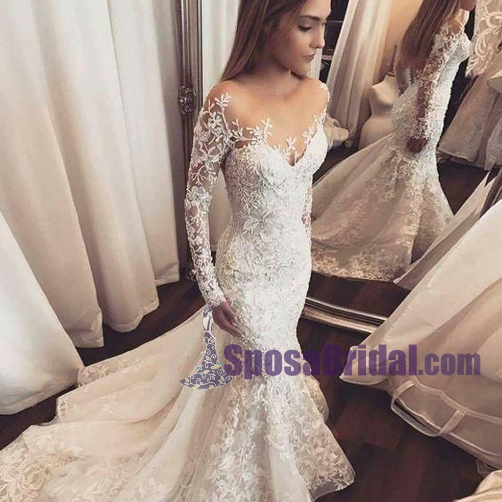 Best wedding dresses for full bust  Long Sleeves Lace Ivory Wedding Dresses Hot Sales Spring Wedding